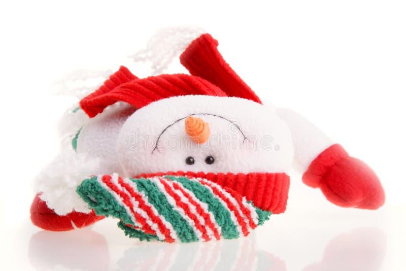 De sneeuwman van Kerstmis die op een witte achtergrond wordt geïsoleerdf stock fotografie