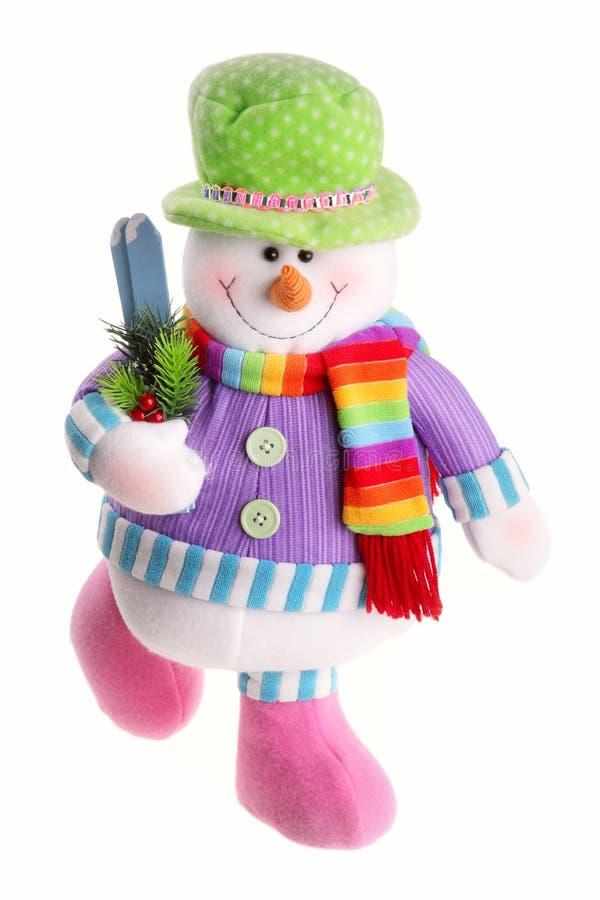 De sneeuwman van Kerstmis die op een witte achtergrond wordt geïsoleerdr stock afbeelding