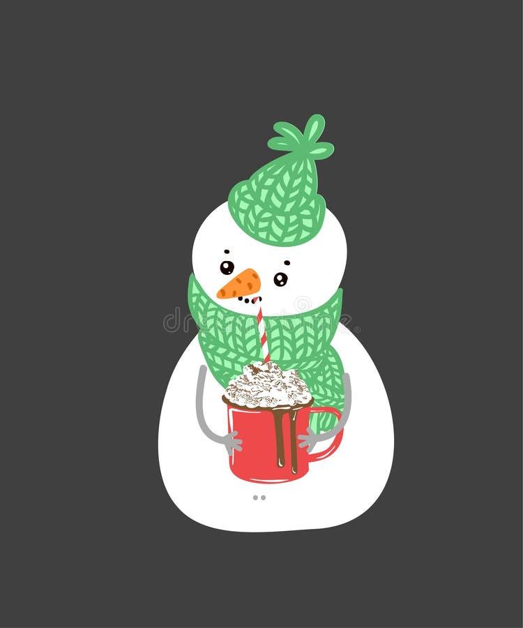 De sneeuwman van de de wintervakantie Vrolijke sneeuwmannen in verschillende kostuums Sneeuwmanchef-kok, tovenaar, sneeuwman met  royalty-vrije illustratie