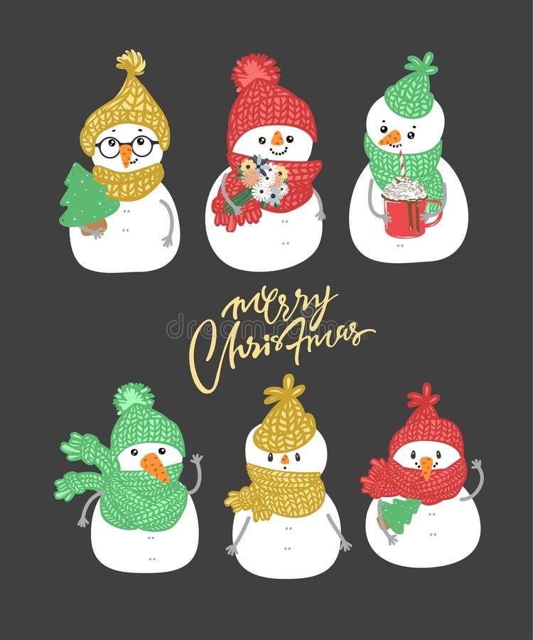 De sneeuwman van de de wintervakantie Vrolijke sneeuwmannen in verschillende kostuums Sneeuwmanchef-kok, tovenaar, sneeuwman met  stock illustratie