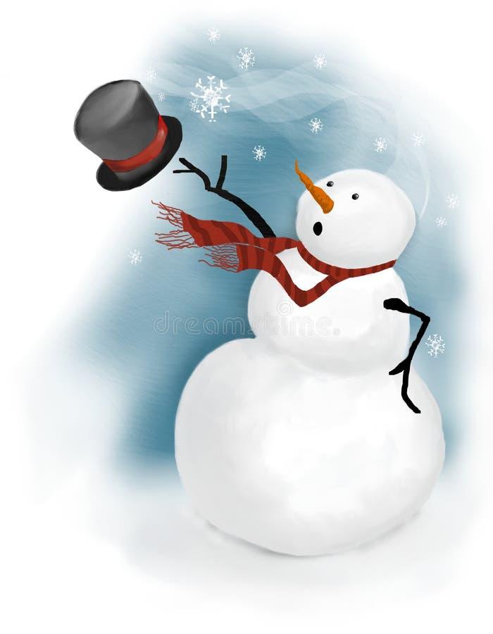 De sneeuwman verliest zijn hoge zijden in windwindvlaag stock illustratie