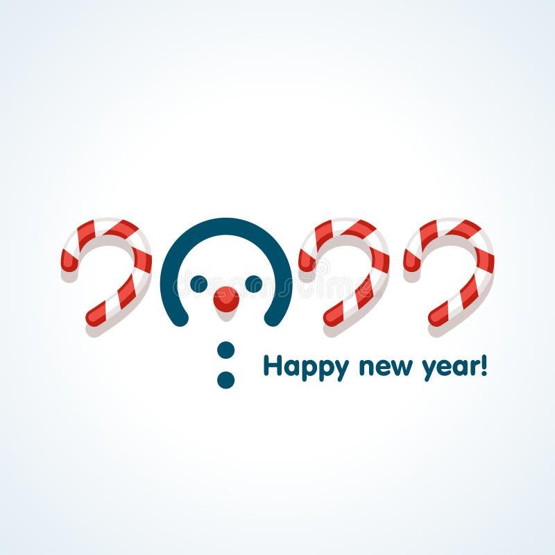 De sneeuwmannen in tekst ontwerpen patroon gelukkig nieuw 2022 jaar stock illustratie