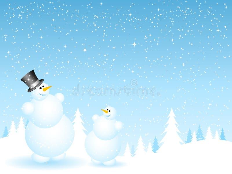 De sneeuwmannen van de vader en van de zoon vector illustratie