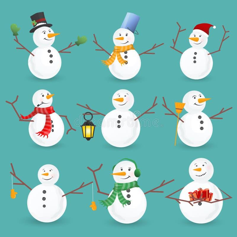De sneeuwmanneninzameling van de winterkerstmis Vector illustratie vector illustratie