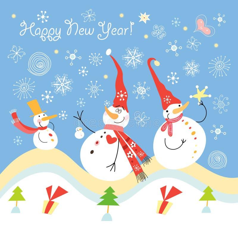 De sneeuwmannenvrienden van de prentbriefkaar vector illustratie