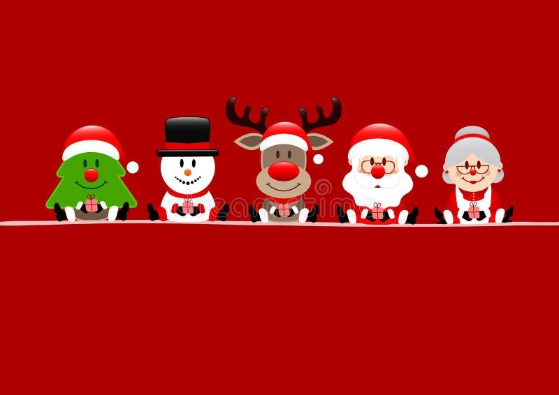 De Sneeuwmanrendier Santa And Wife Red van de kerstkaartboom stock illustratie