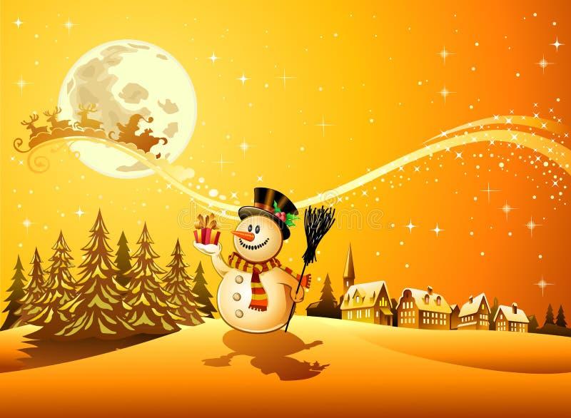 De sneeuwmanscène van Kerstmis royalty-vrije illustratie