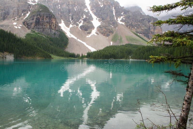 De sneeuwmorene Alberta Canada van het Bergenmeer stock afbeeldingen