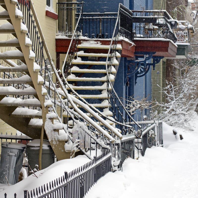 De sneeuwonweer van Montreal stock foto