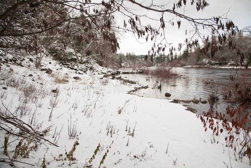 De sneeuwrivier van Spokane royalty-vrije stock fotografie