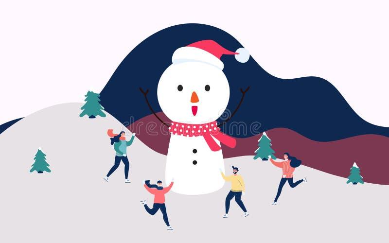 De sneeuwstraat van het de winterlandschap en de wintervakantie Gelukkige familie die met grote sneeuwman in de winter schaatsen  stock illustratie