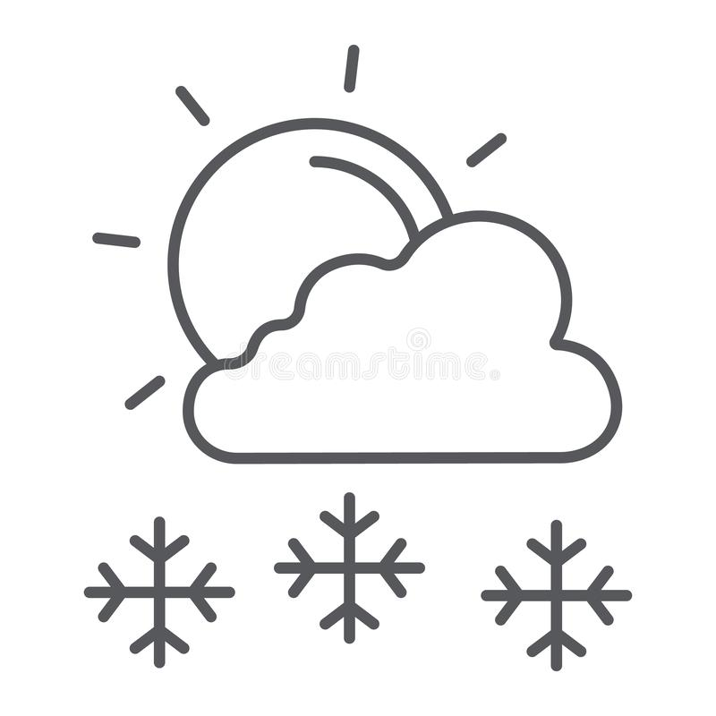 De sneeuwval in het zonnige pictogram van de dag dunne lijn, het weer en de voorspelling, de zon en de sneeuw ondertekenen, vecto vector illustratie