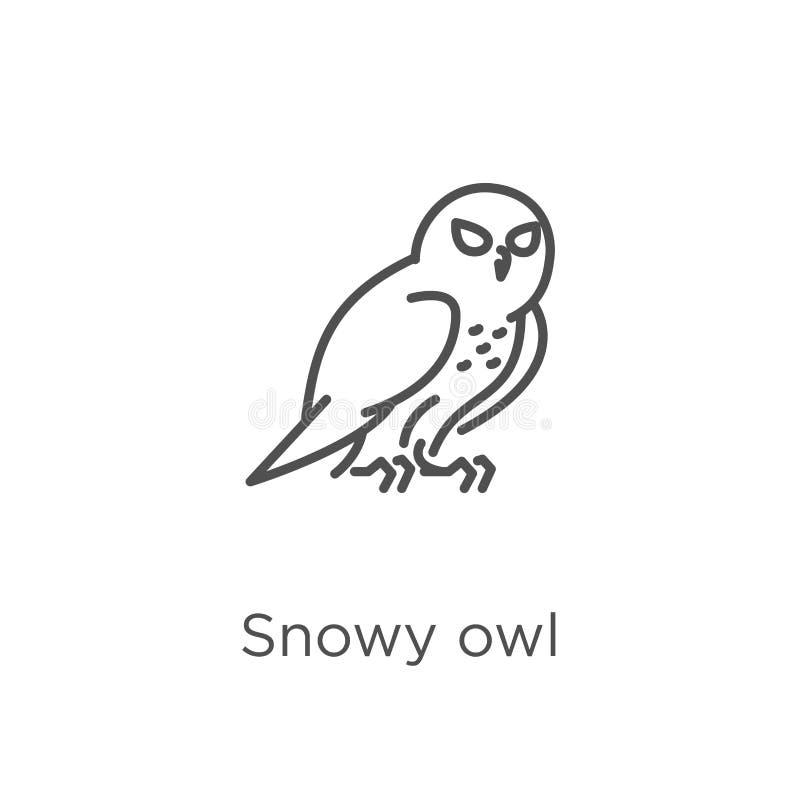 de sneeuwvector van het uilpictogram van uilinzameling De dunne van het het overzichtspictogram van de lijn sneeuwuil vectorillus vector illustratie