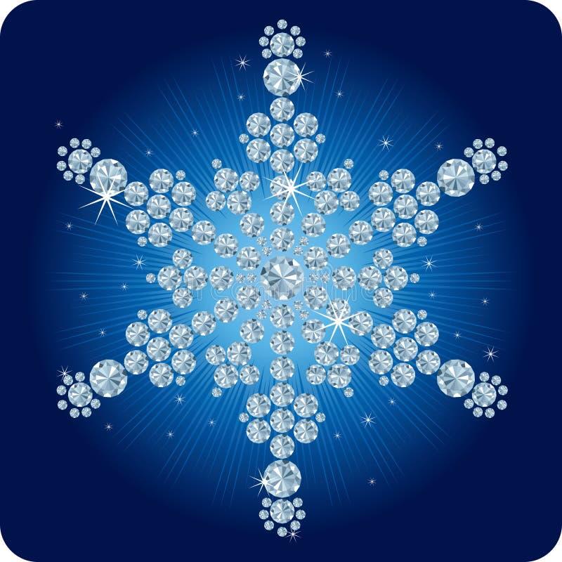 De sneeuwvlok van de Diamant van Kerstmis/vectorillustratie stock illustratie