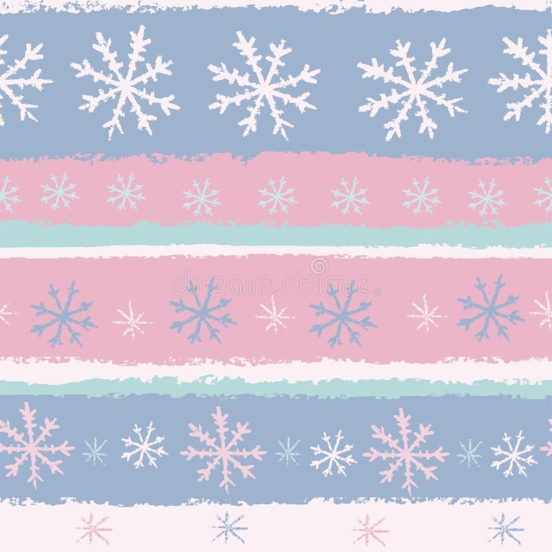De sneeuwvlokken naadloos patroon van de pastelkleur stock illustratie