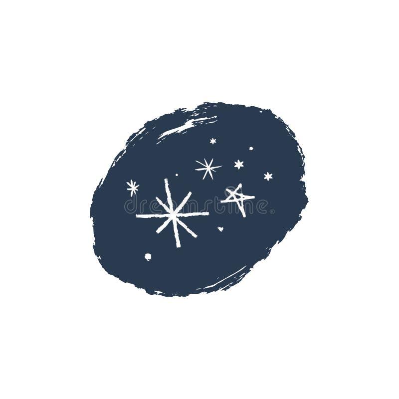 De sneeuwvlokken overhandigen getrokken vector geplaatste pictogrammen, borstelvlek Het thema van de winter stock illustratie