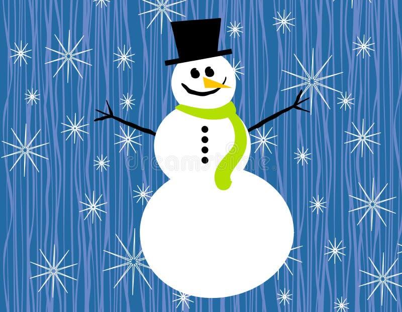 De Sneeuwvlokken van de sneeuwman op Blauw royalty-vrije illustratie
