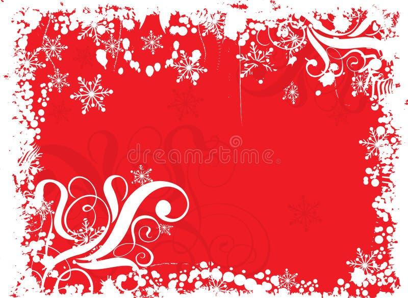 De sneeuwvlokkenachtergrond van Grunge, vector stock illustratie