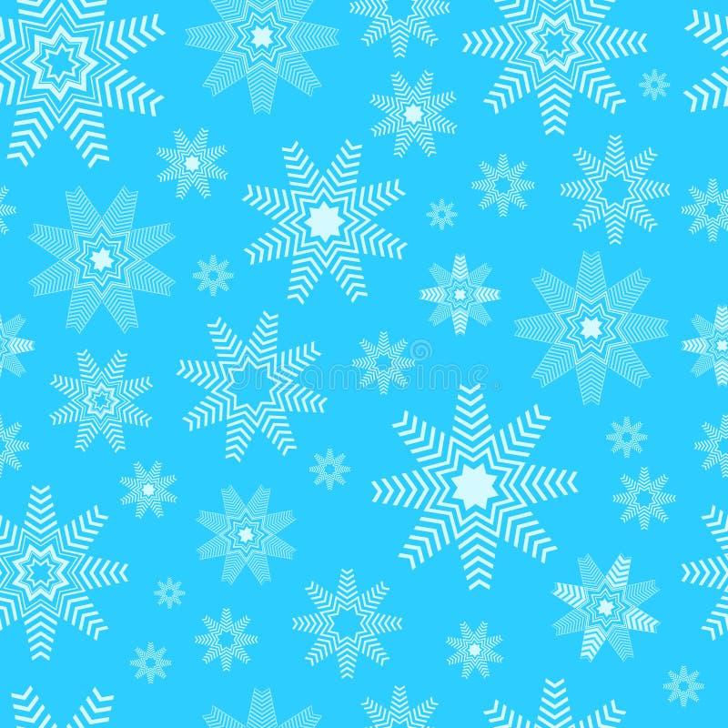 De sneeuwvlokkenachtergrond van Kerstmis Sneeuwvlokken naadloos patroon - de winterachtergrond vector illustratie