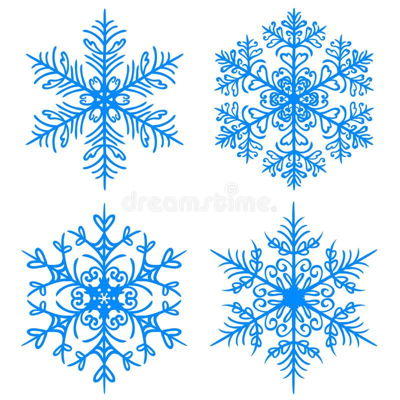 De sneeuwvlokwinter De silhouetten van de roosterversie op witte achtergrond stock illustratie