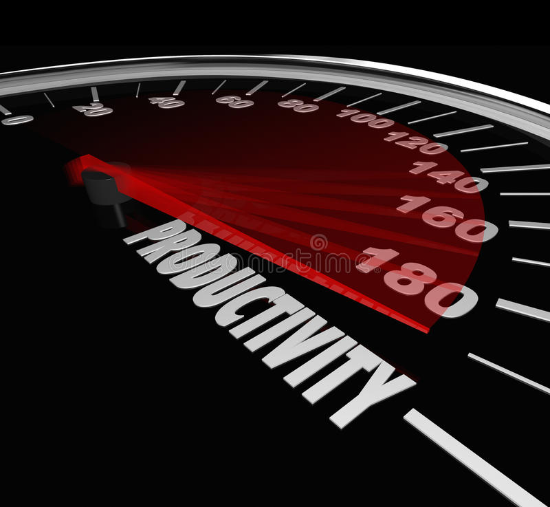 De Snelheidsmeter Hoog Productieniveau Efficienc van de productiviteitsmeting stock illustratie