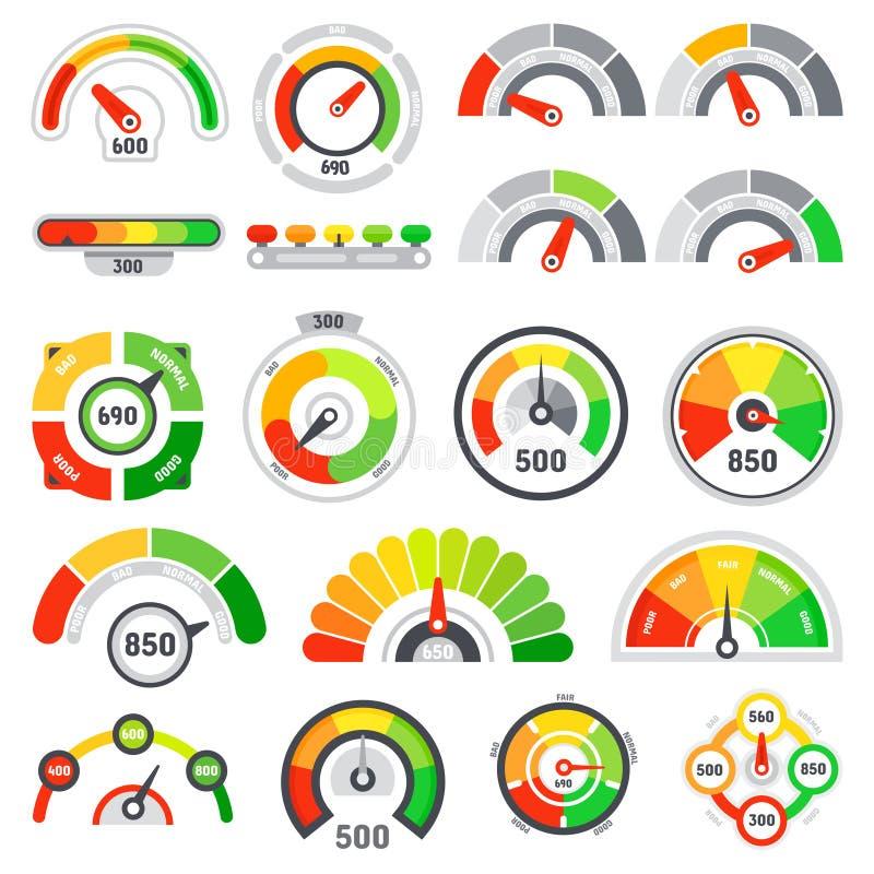De snelheidsmeter van de kredietscore Goederen die aanwijzing schatten, goede maatindicator en de vlakke indicatoren geïsoleerde  royalty-vrije illustratie