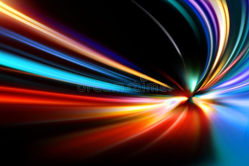 De snelheidsmotie van de versnelling op nachtweg stock afbeelding
