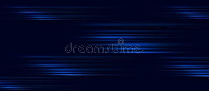 De snelheidsmotie van de versnelling op nachtweg Licht en strepen die zich snel over donkere achtergrond bewegen Abstracte blauwe vector illustratie
