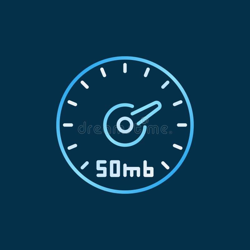 De snelheidstest van het vectorconcept van Internet kleurde overzichtspictogram stock illustratie
