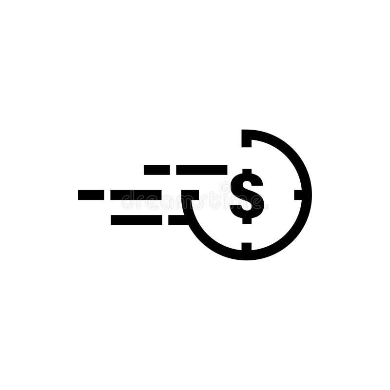 De snelle illustratie van de het pictogram grafische ontwerpsjabloon van de contant gelddollar stock fotografie