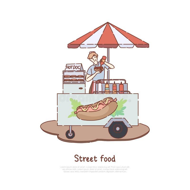 De snelle zaken van de maaltijdverkoop, verkoper die smakelijke snack, worst, ongezonde snelle lunch, de meeneemdienst, de banner royalty-vrije illustratie