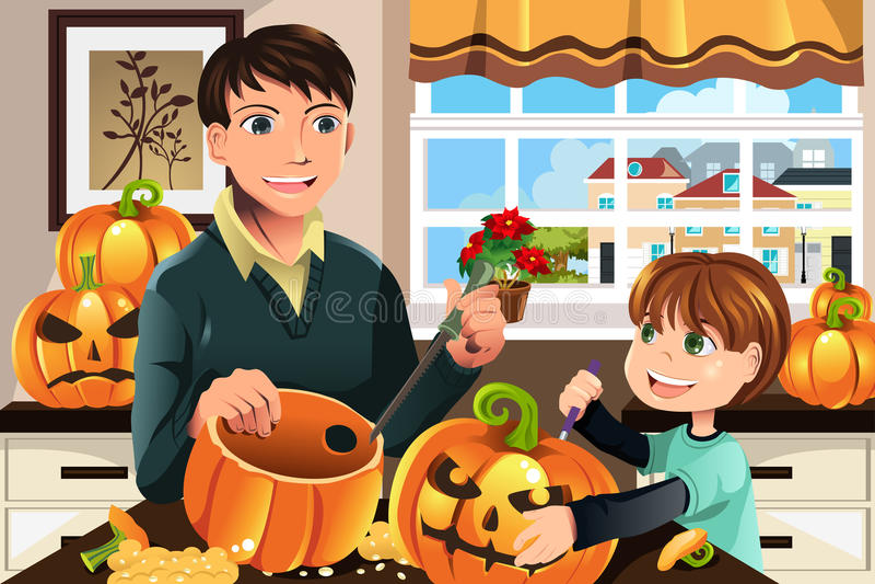 De snijdende pompoenen van de vader en van de zoon royalty-vrije illustratie