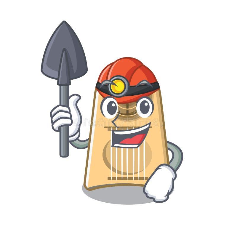 De snijmachine van het mijnwerkersei in de mascottevorm stock illustratie