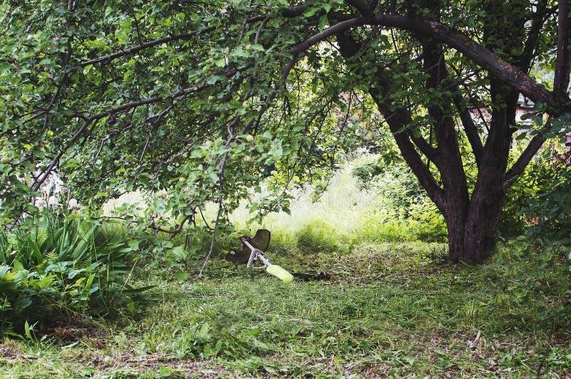 De snoeischaargrasmaaimachine ligt in het gras onder de boom stock afbeeldingen