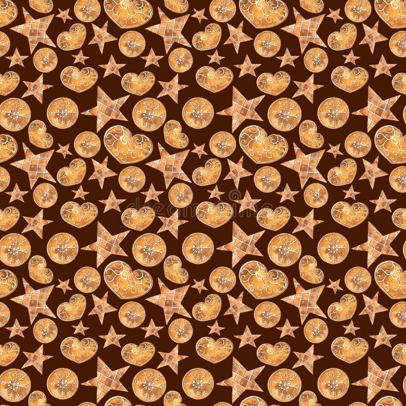 De Snoepjes naadloos patroon van waterverfkerstmis vector illustratie