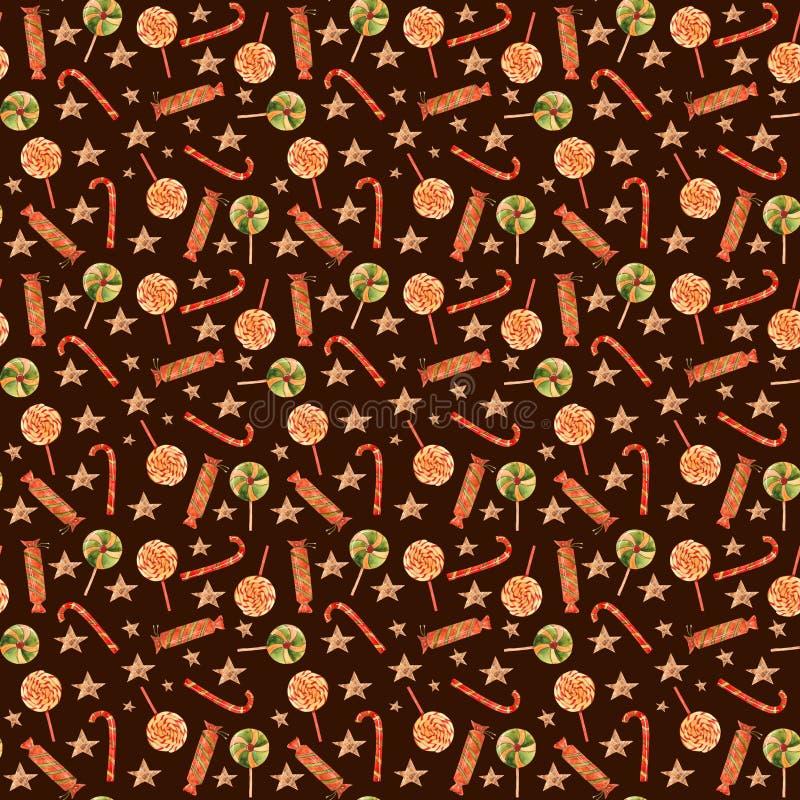De Snoepjes naadloos patroon van waterverfkerstmis stock illustratie