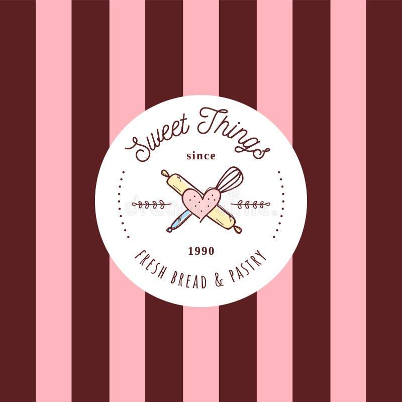 De snoepjes winkelen retro van het de schetsembleem van de stijlkrabbel het kentekenmalplaatje Koffie en restaurantembleem, symbo royalty-vrije illustratie