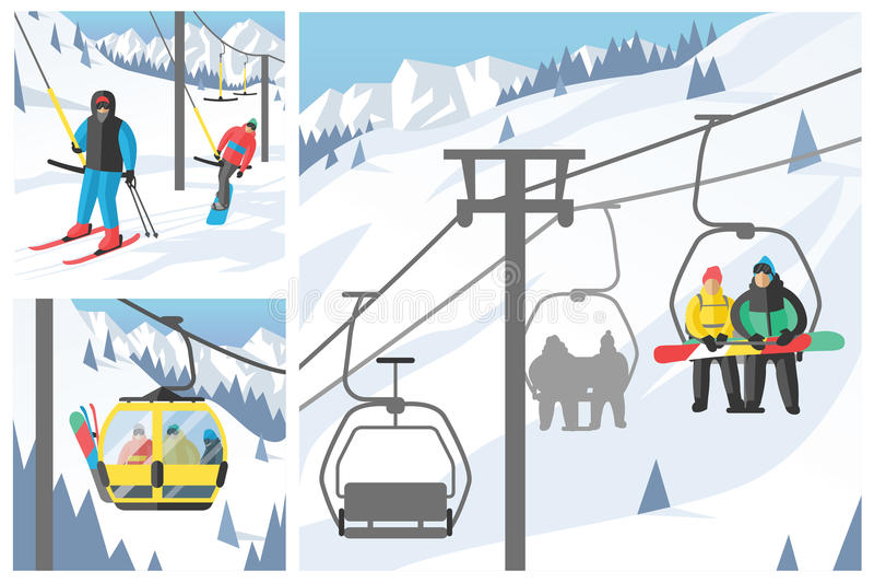 De Snowboarderzitting in van de skigondel en lift de sport van de liftenwinter neemt snowboard mensenrust het opheffen sprongvect royalty-vrije illustratie