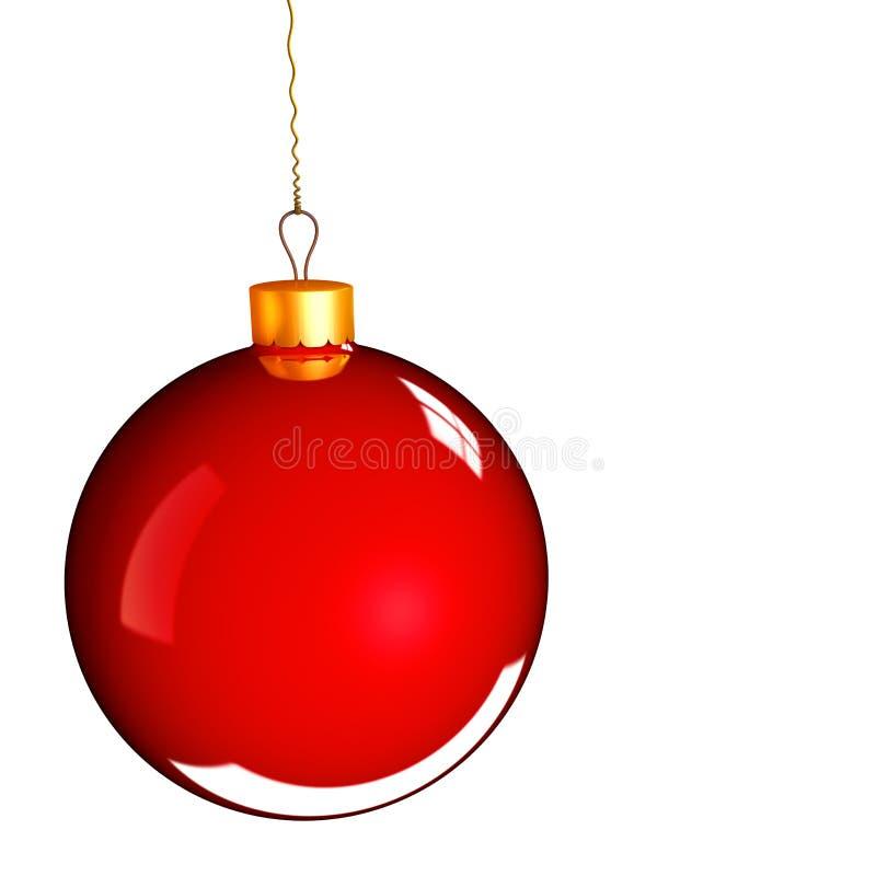De snuisterijbal van Kerstmis in gouden rood vector illustratie