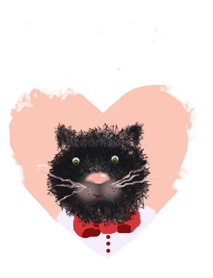 De snuit van een kat en een hart op een witte achtergrond stock afbeelding