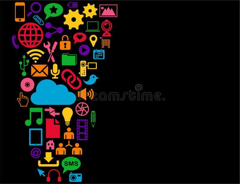De sociale achtergrond van Media stock illustratie