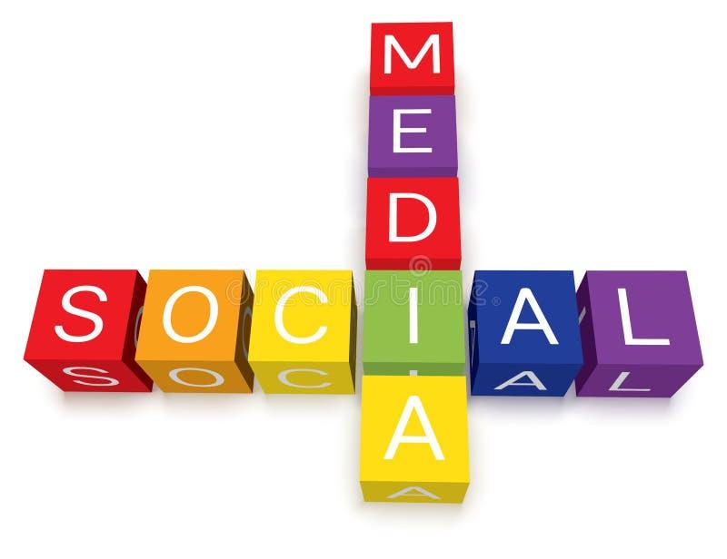 De sociale Blokken van het Kruiswoordraadsel van Media vector illustratie