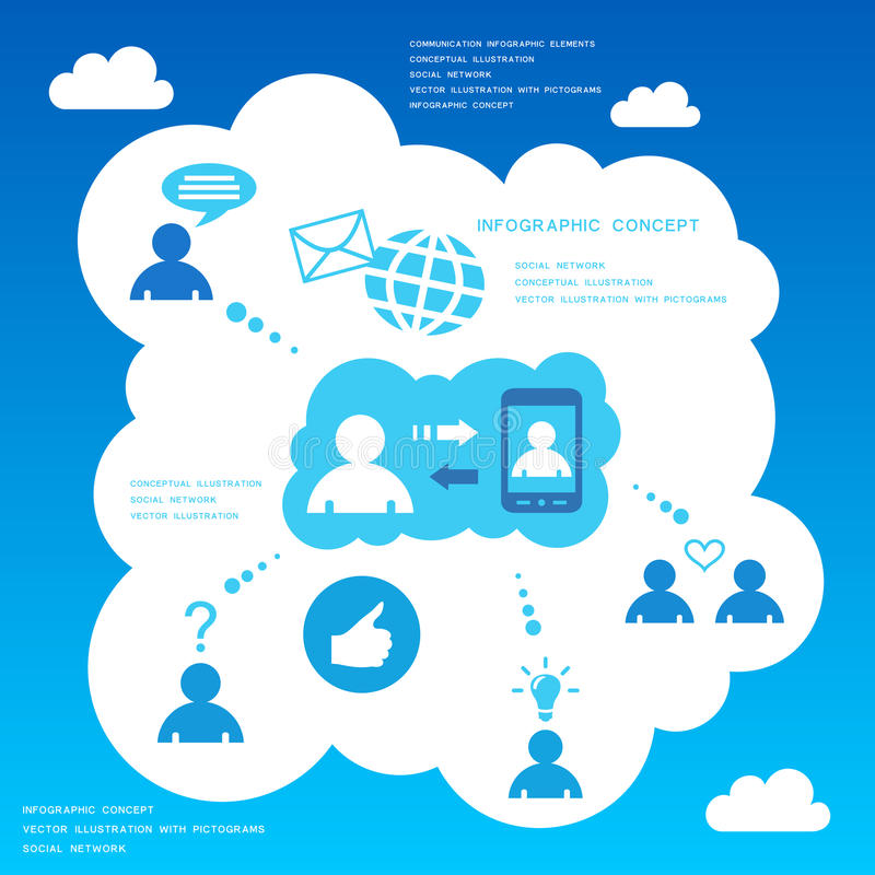 De sociale elementen van het netwerk infographic ontwerp vector illustratie