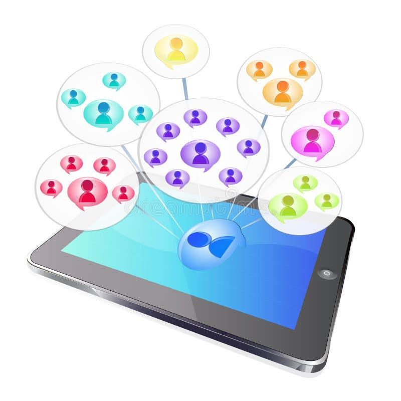 De sociale groep van de tablet stock illustratie