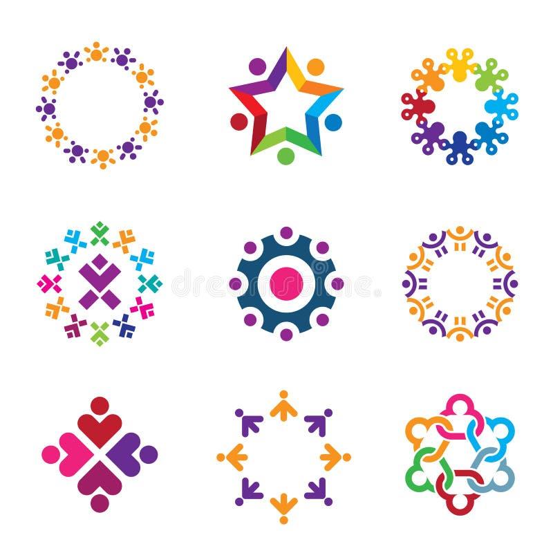 De sociale kleurrijke geplaatste pictogrammen van het de cirkelembleem van wereld communautaire mensen stock illustratie