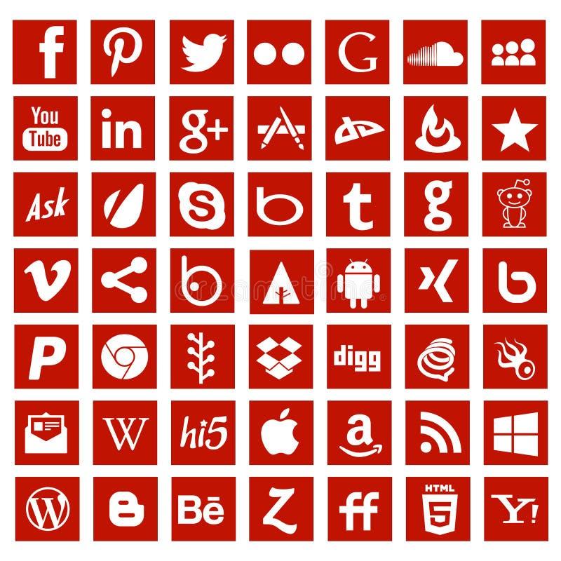De sociale media app tekens van het voorzien van een netwerkembleem stock illustratie