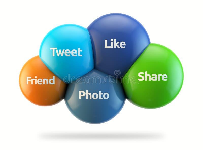 De sociale media betrekken - als, tjirp, deel, foto, Fr vector illustratie