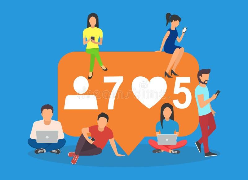 De sociale media borrelen vlakke vectorillustratie stock illustratie
