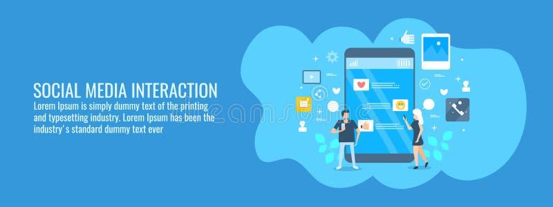 De sociale media interactie, mensen neemt met sociale media op mobiele telefoon in dienst, digitaal marketing concept Vlakke ontw royalty-vrije illustratie
