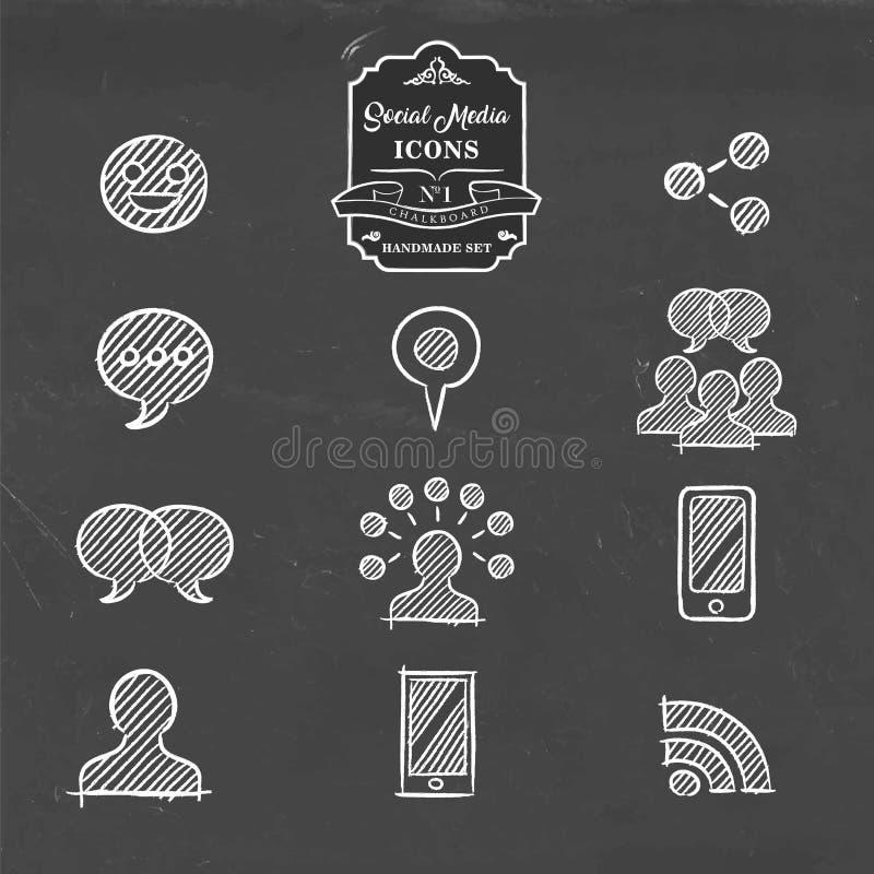 De sociale media overhandigen getrokken het pictogramreeks van krabbelinternet vector illustratie